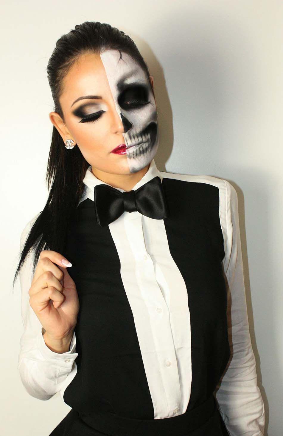 Maquillage halloween femme moitié squelette