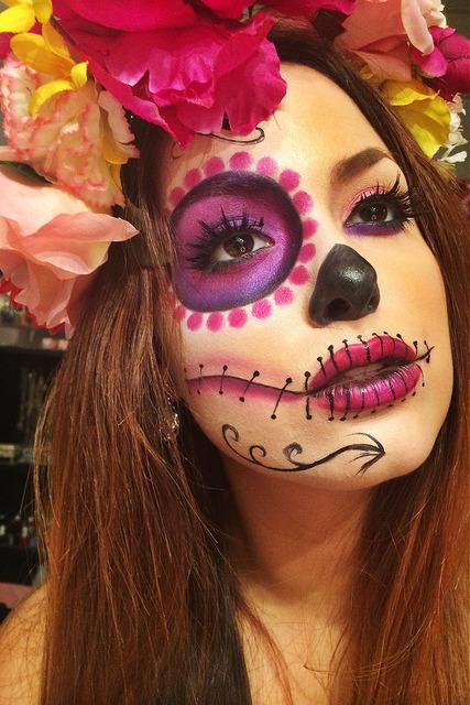 Maquillage crane mexicain femme