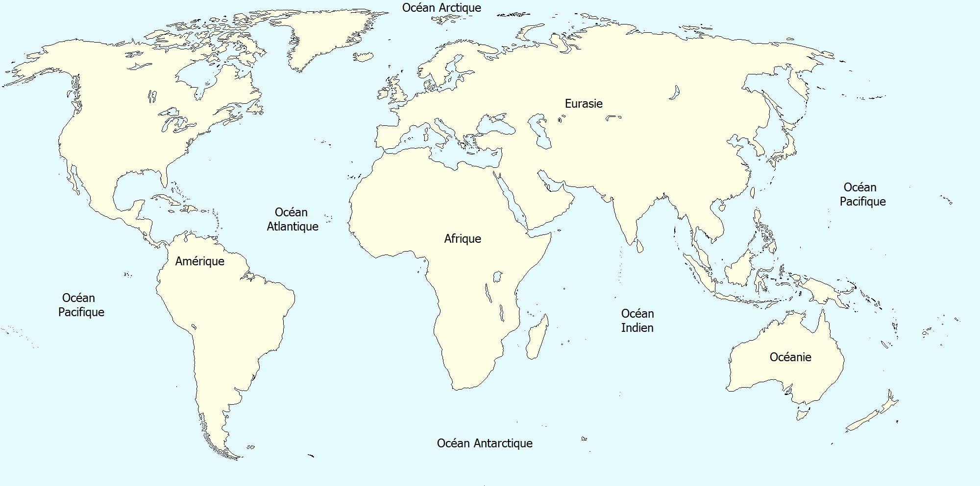 Carte du monde continents vierge