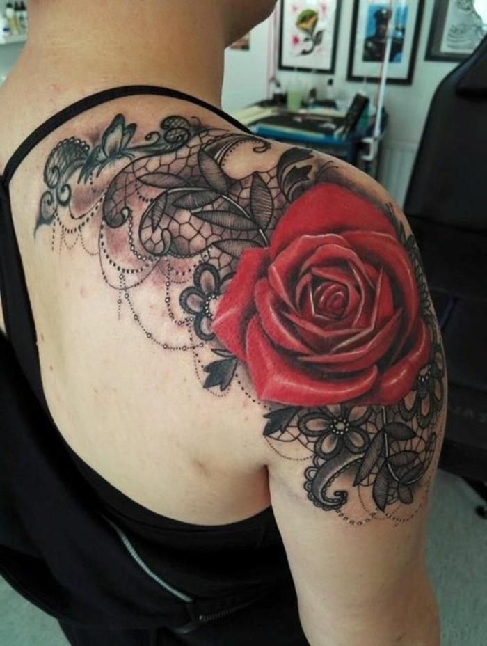 tatouage rose dentelle epaule femme chaton chien donner. Black Bedroom Furniture Sets. Home Design Ideas