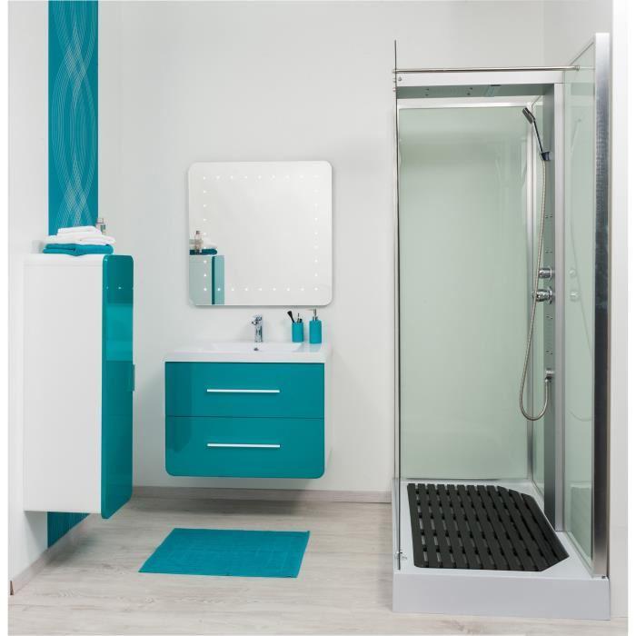 Salle de bain turquoise et bois