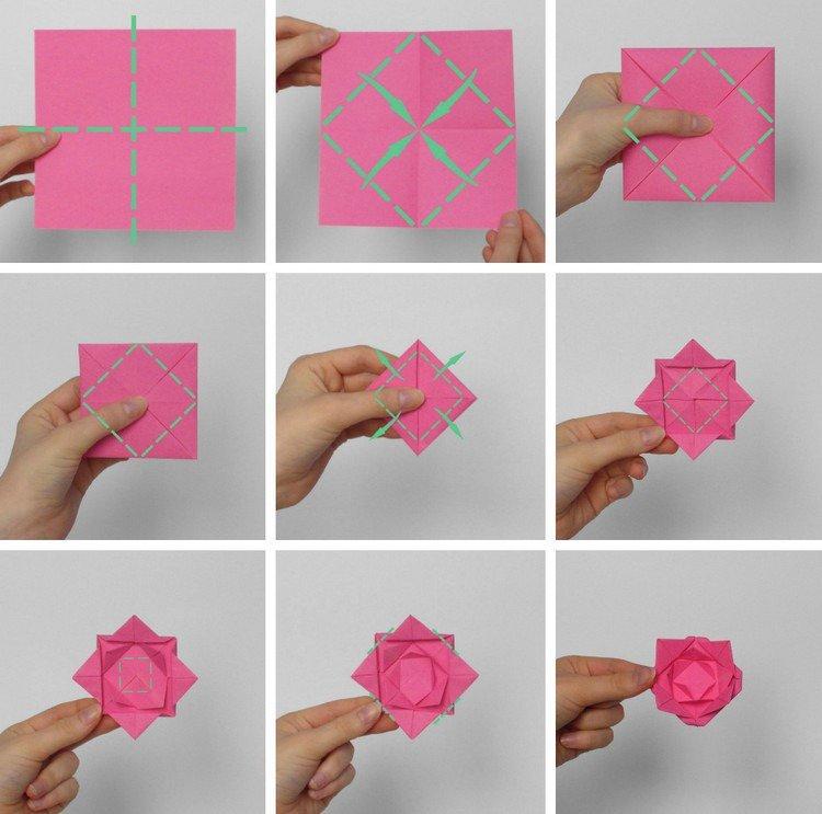 Origami facile fleur rose