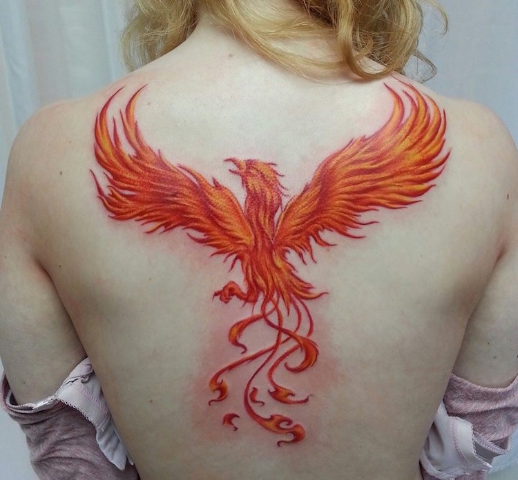 Tatouage dos homme phoenix