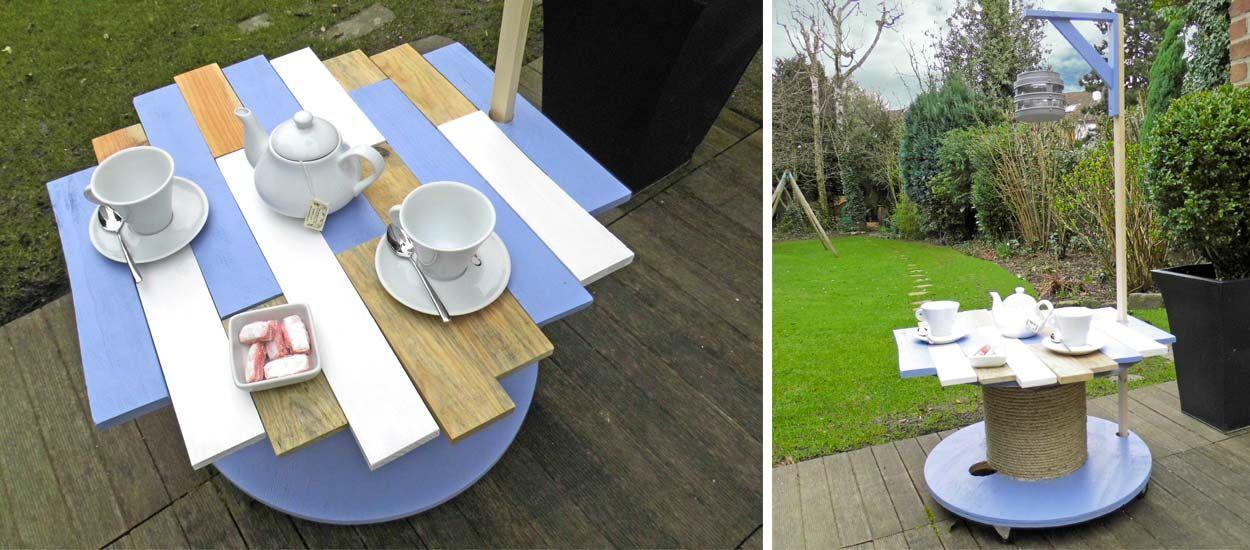 Transformer un touret en table de jardin
